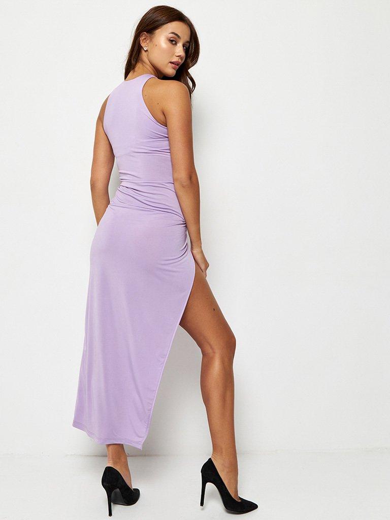 Fioletowa dopasowana sukienka maxi Katarina Ivanenko (zdjęcie 4)