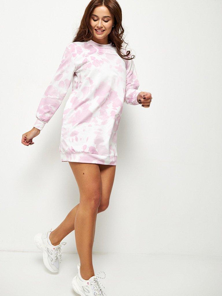 Różowa sukienka mini dresowa z nadrukiem tie dye Love&Live