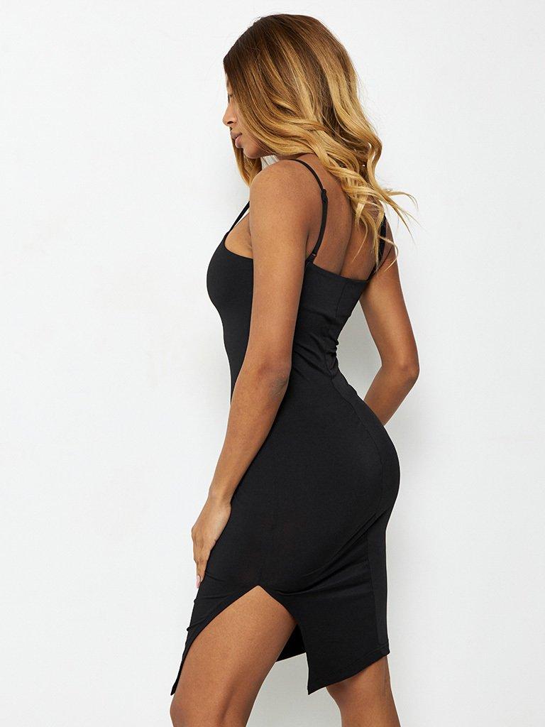 Sukienka midi czarna z rozcięciem Katarina Ivanenko