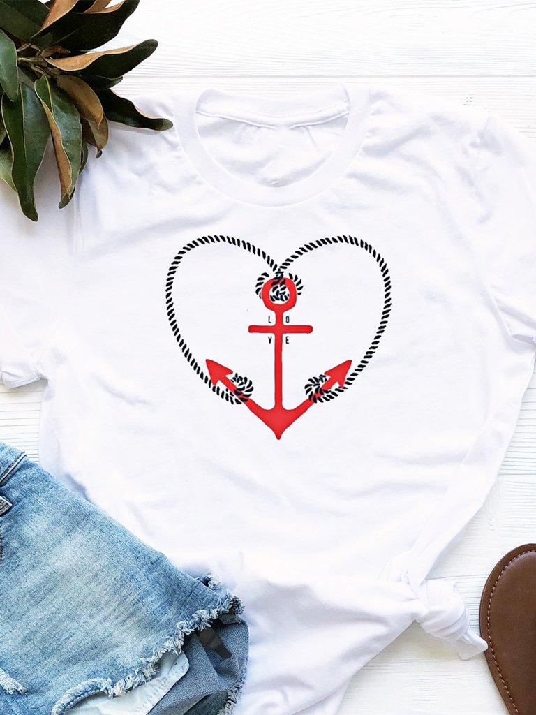 T-shirt biały Anchor Love Love&Live