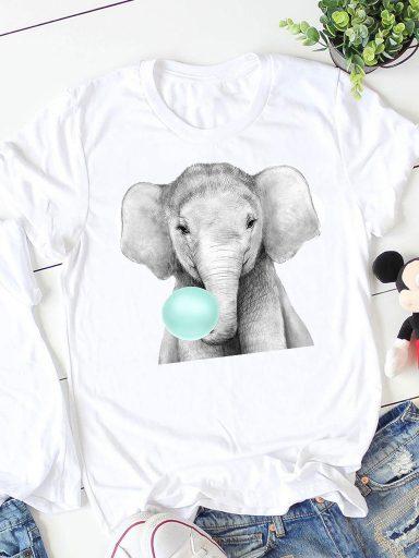 T-shirt biały Bubble-słoń ZUZU