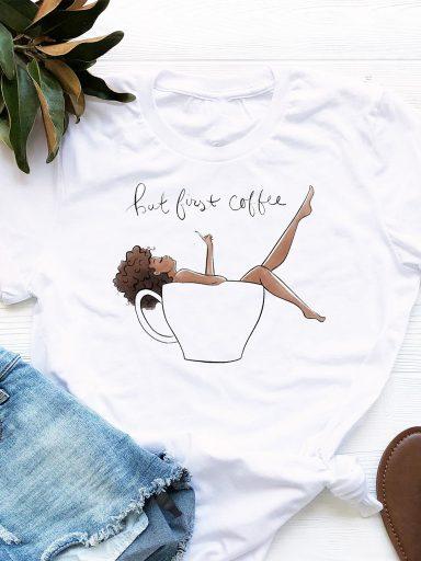 T-shirt biały But First Coffee Love&Live