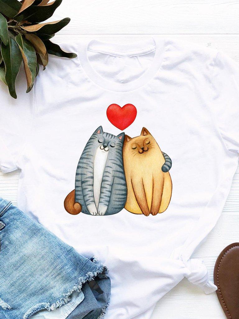 T-shirt biały Cat Love Love&Live