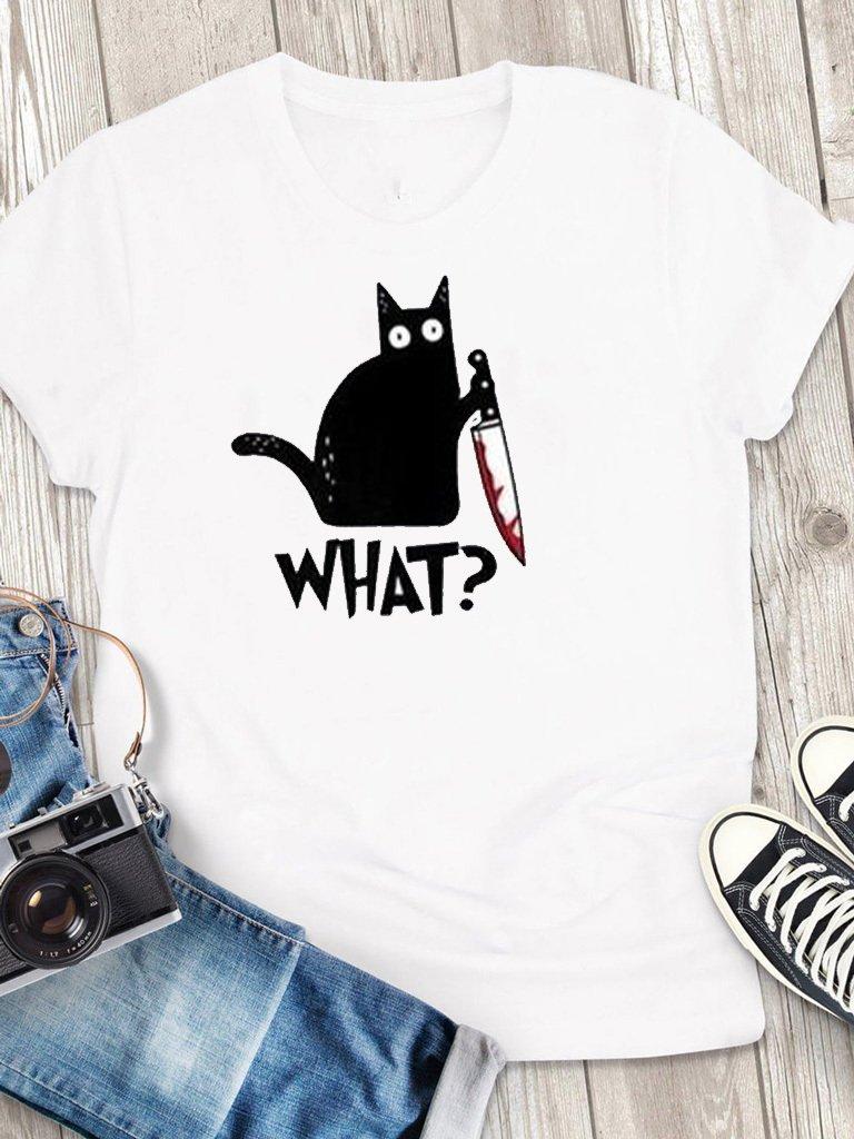 """T-shirt męski biały Cat Says """"What?"""" Love&Live"""
