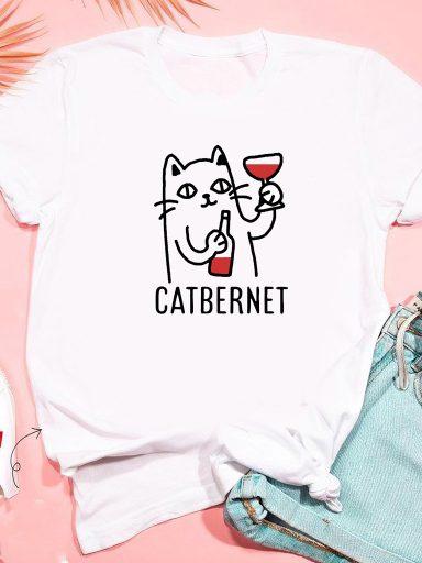T-shirt biały Catbernet ZUZU