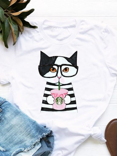 T-shirt biały Catbucks Love&Live