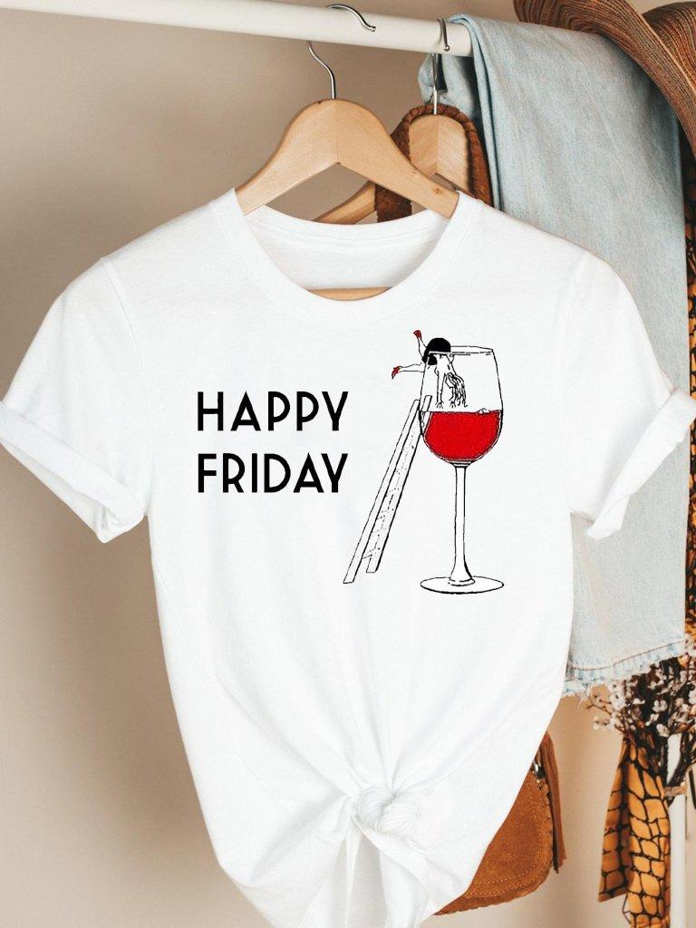 T-shirt biały Happy Friday Katarina Ivanenko