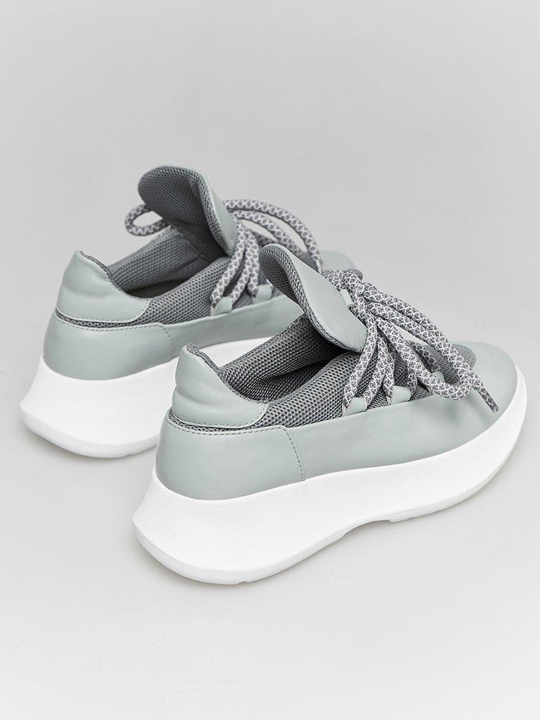 Skórzane buty sportowe błękitne z dekoracją tekstylną Love&Live (zdjęcie 4)
