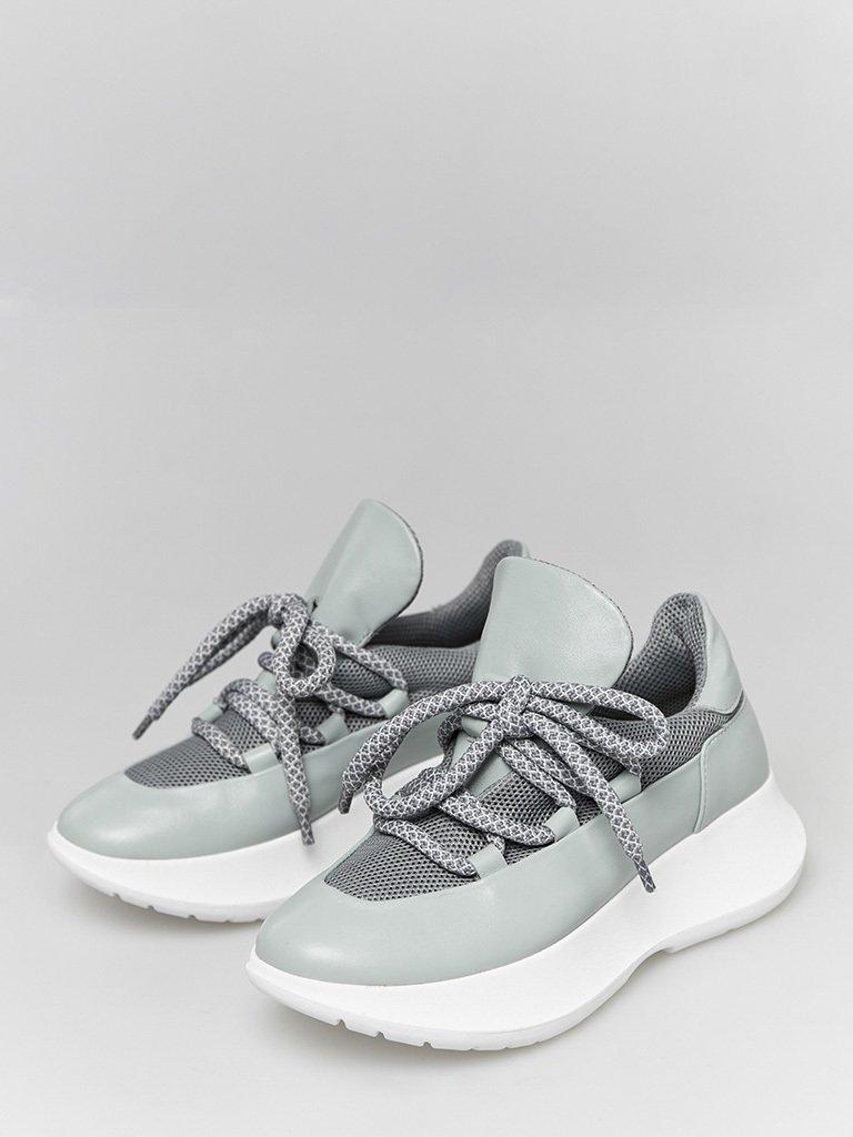 Skórzane buty sportowe błękitne z dekoracją tekstylną Love&Live