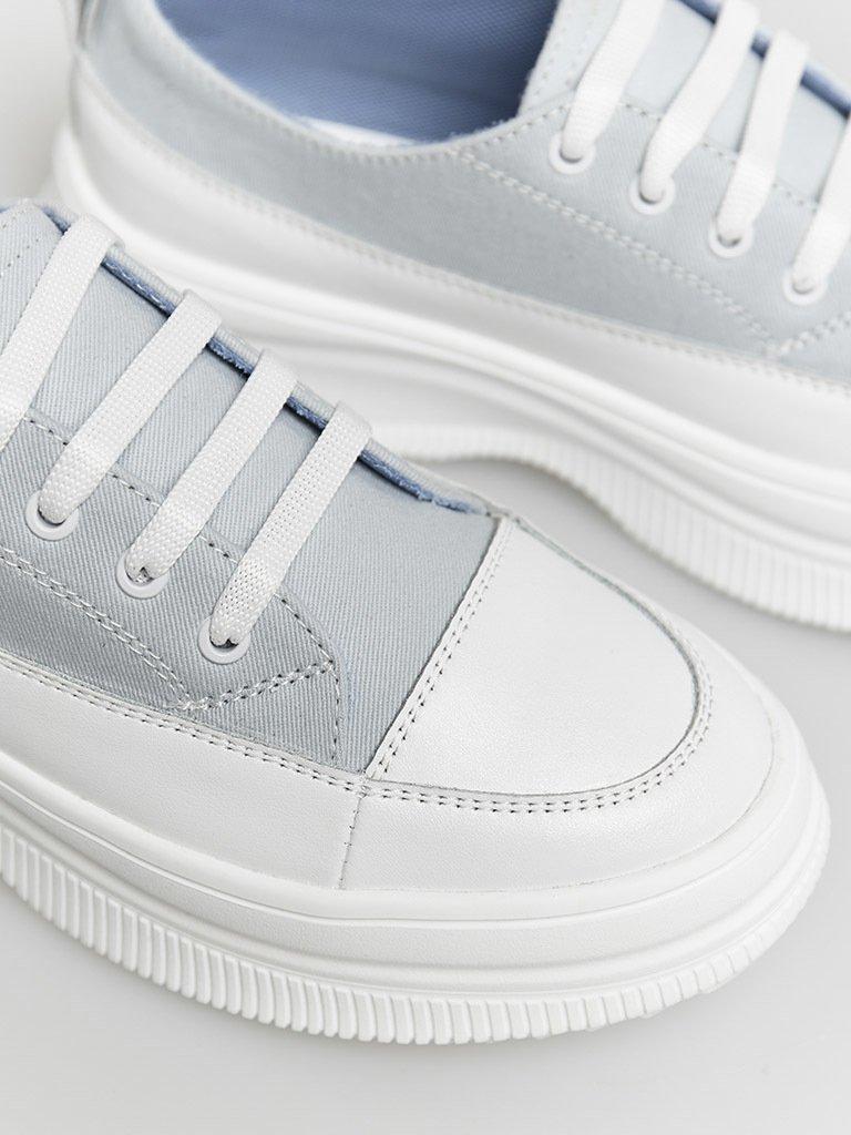Buty sportowe tekstylne w kolorze błękitnym ze skórzanymi elementami Love&Live (zdjęcie 2)
