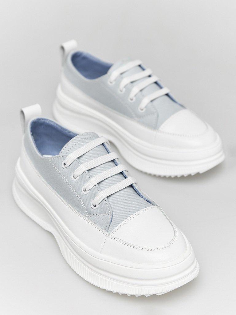 Buty sportowe tekstylne w kolorze błękitnym ze skórzanymi elementami Love&Live