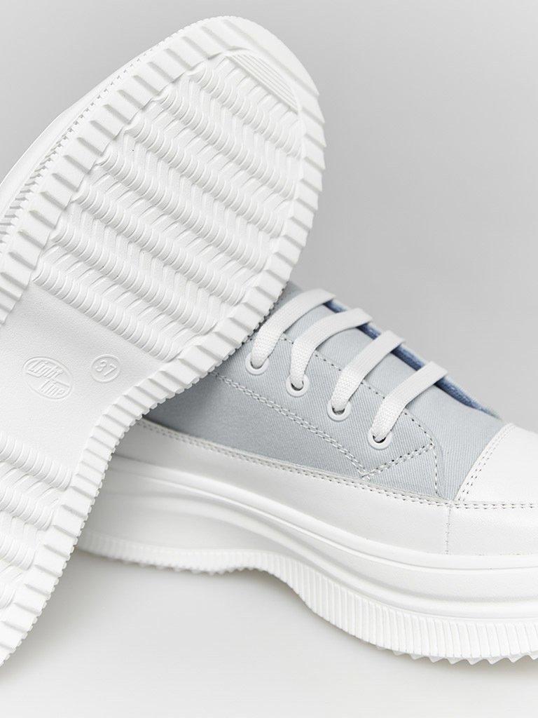 Buty sportowe tekstylne w kolorze błękitnym ze skórzanymi elementami Love&Live (zdjęcie 3)