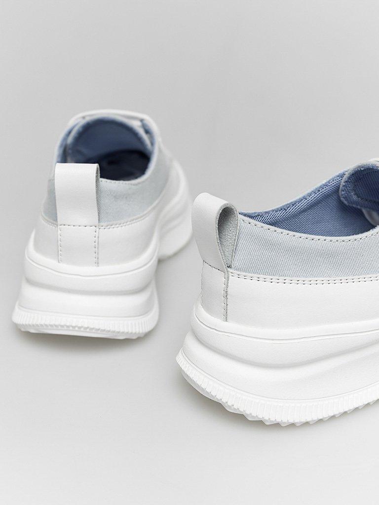 Buty sportowe tekstylne w kolorze błękitnym ze skórzanymi elementami Love&Live (zdjęcie 4)