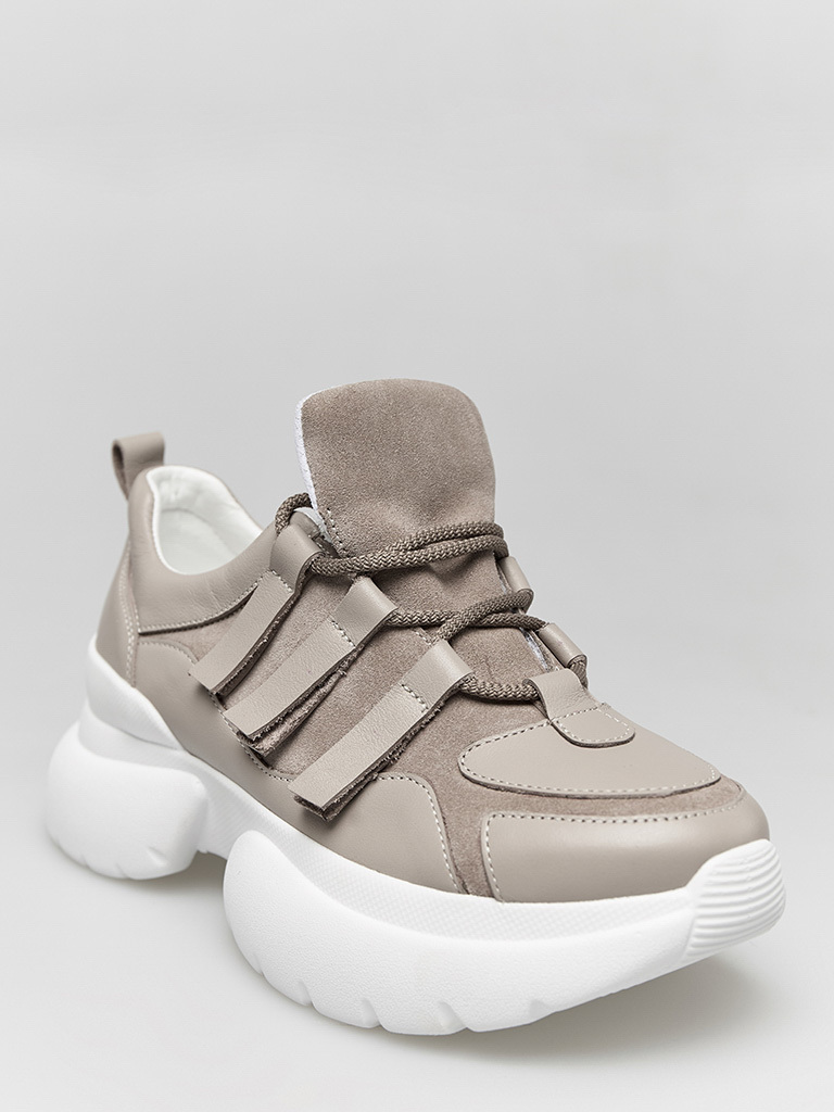 Buty sportowe kombinowane na wysokiej podeszwie w kolorze kawy z mlekiem Love&Live