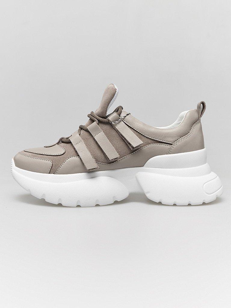 Buty sportowe kombinowane na wysokiej podeszwie w kolorze kawy z mlekiem Love&Live (zdjęcie 3)