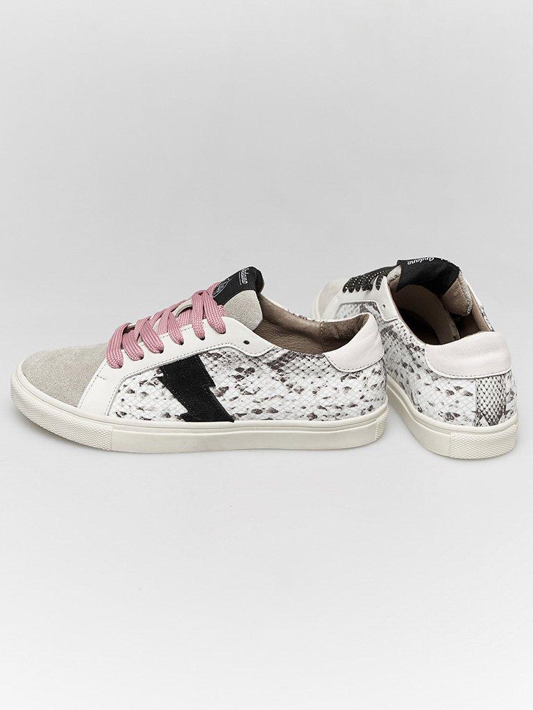 Skórzane buty sportowe w kolorze szarym z nadrukiem węża Katarina Ivanenko (zdjęcie 4)