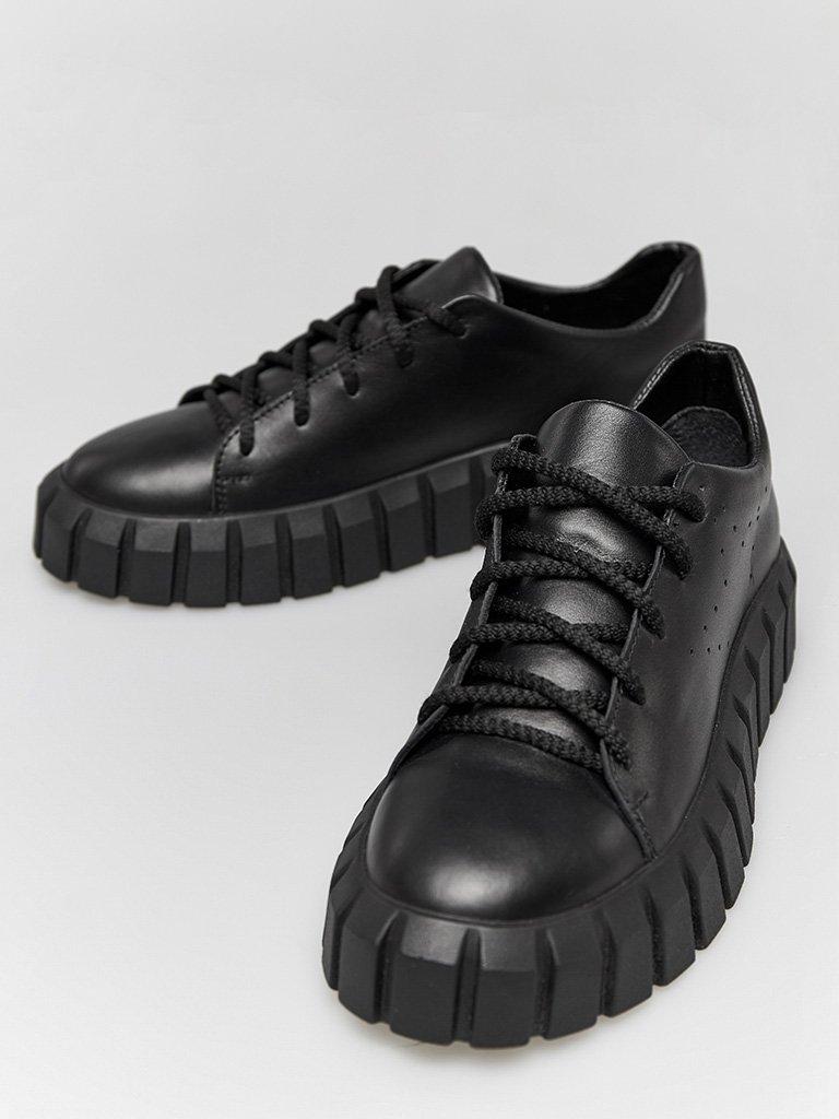 Czarne skórzane buty sportowe z grubą podeszwą Love&Live