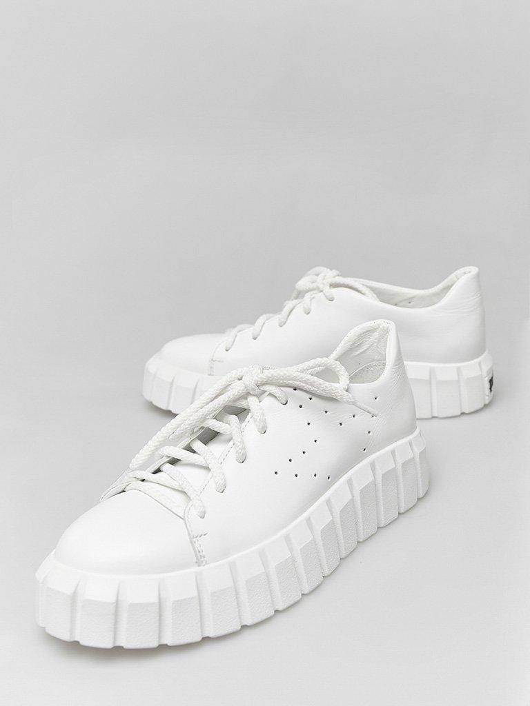 Białe skórzane buty sportowe z grubą podeszwą Love&Live