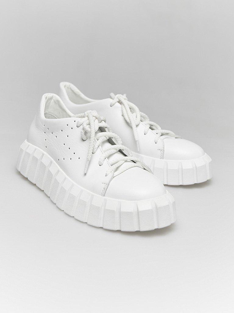 Białe skórzane buty sportowe z grubą podeszwą Love&Live (zdjęcie 2)