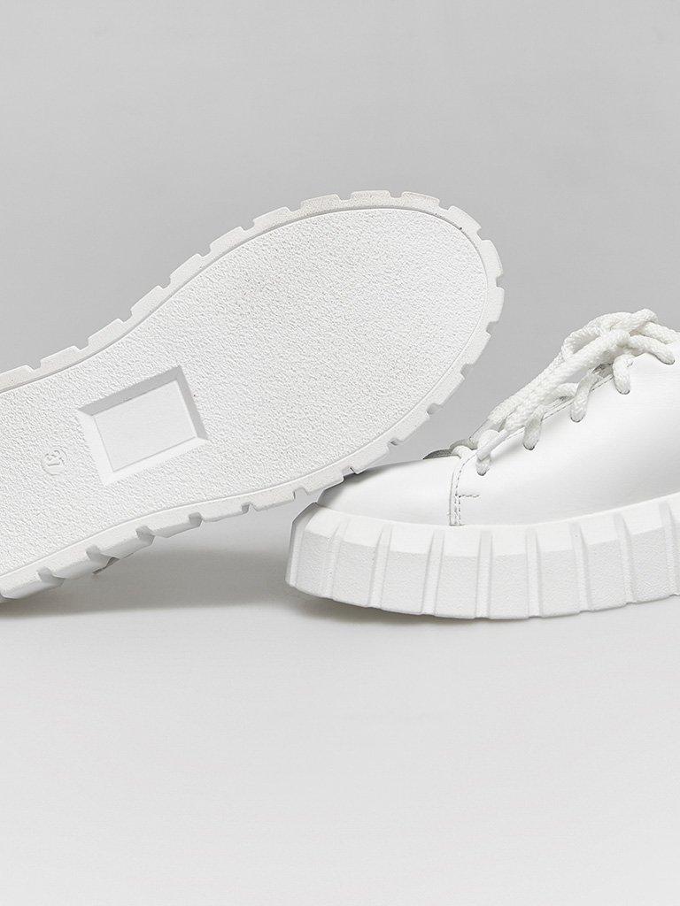 Białe skórzane buty sportowe z grubą podeszwą Love&Live (zdjęcie 4)