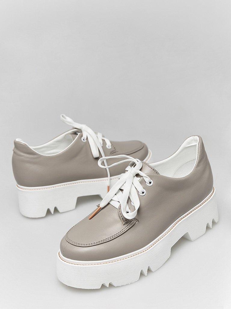 Skórzane buty w kolorze kawa z mlekiem na platformie Love&Live