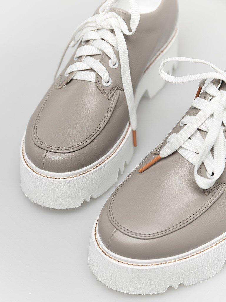 Skórzane buty w kolorze kawa z mlekiem na platformie Love&Live (zdjęcie 2)