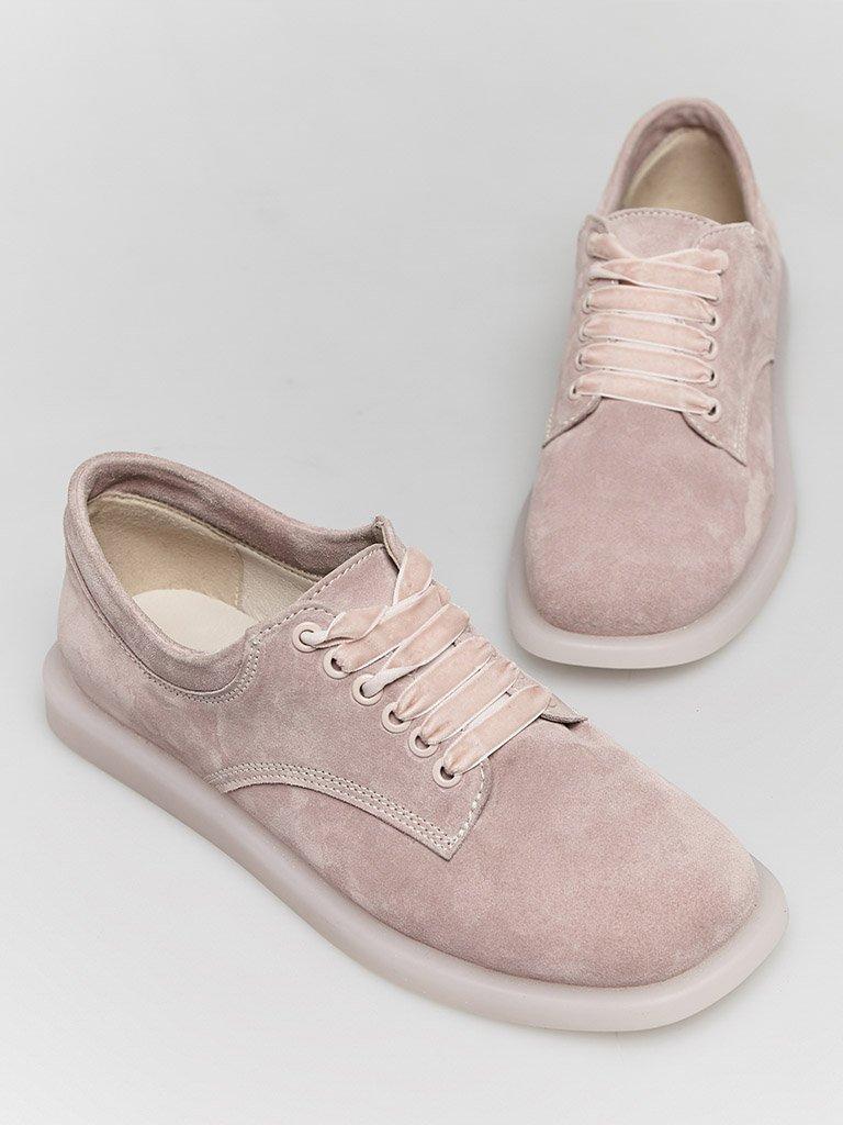 Zamszowe buty w kolorze różowym na płaskiej podeszwie Love&Live