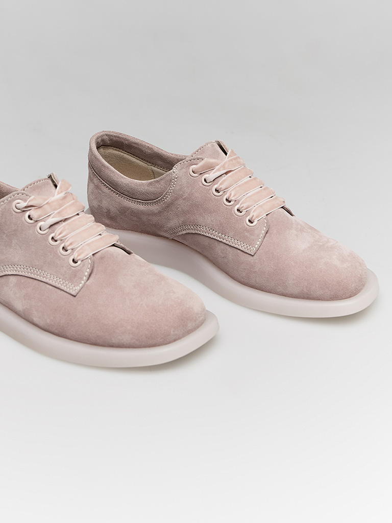 Zamszowe buty w kolorze różowym na płaskiej podeszwie Love&Live (zdjęcie 2)