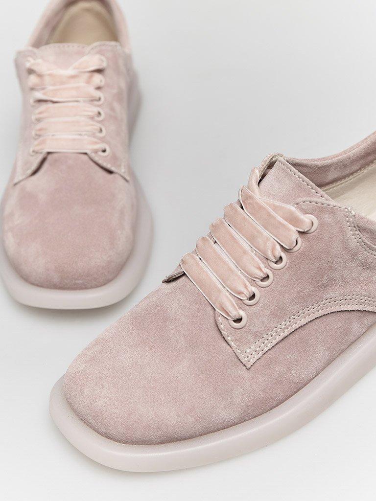 Zamszowe buty w kolorze różowym na płaskiej podeszwie Love&Live (zdjęcie 3)