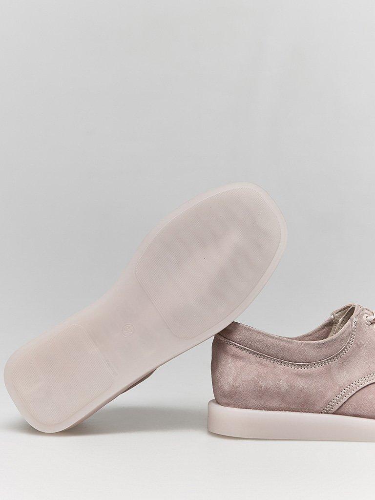 Zamszowe buty w kolorze różowym na płaskiej podeszwie Love&Live (zdjęcie 4)