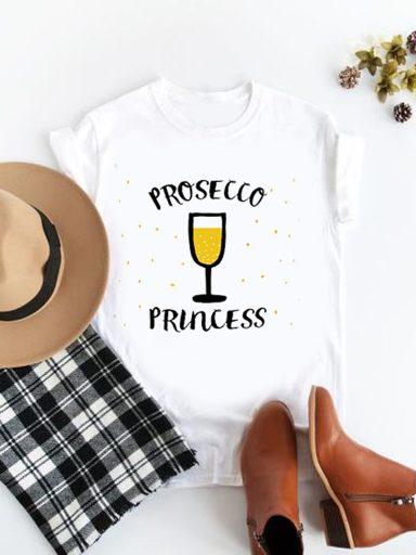 T-shirt biały Prosecco Princess Katarina Ivanenko