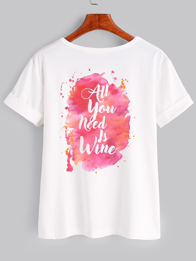 T-shirt biały All You Need Is Wine Katarina Ivanenko