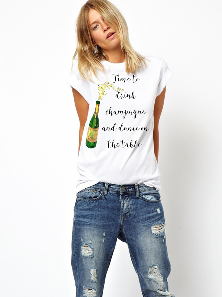 T-shirt biały Time to Drink and Dance on the Table Katarina Ivanenko