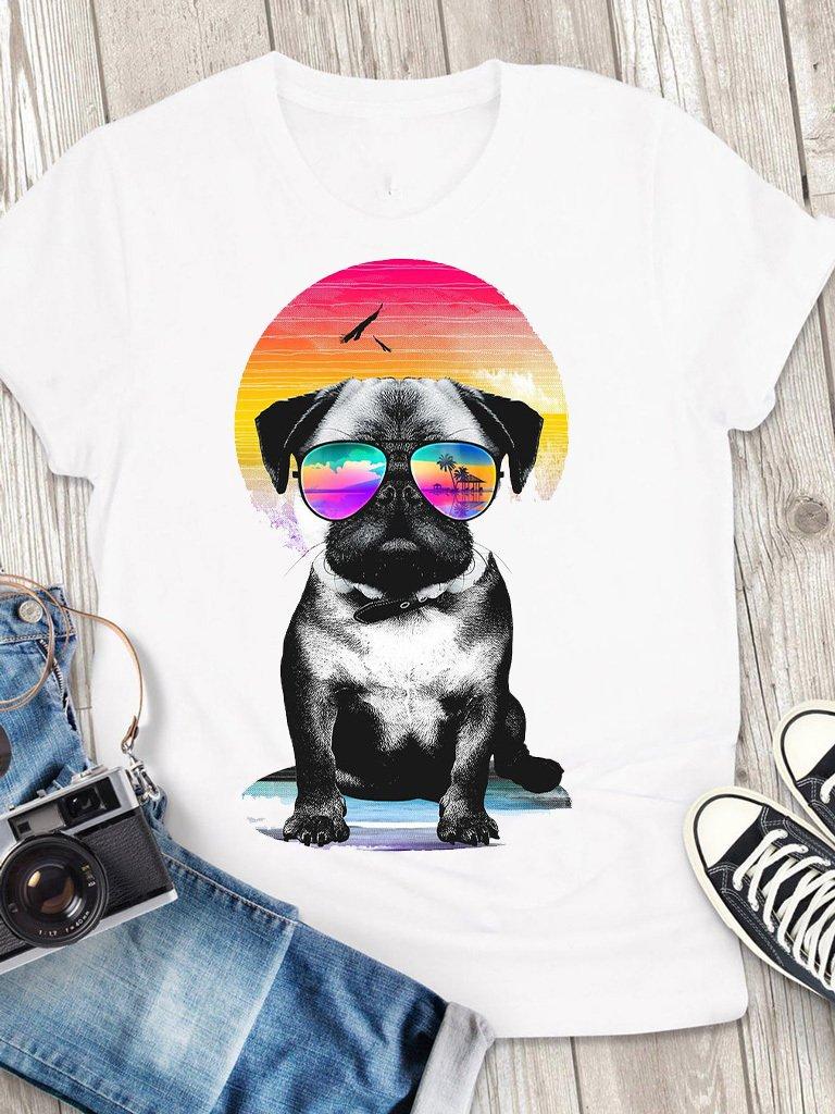 T-shirt męski biały Laguna Mops Love&Live