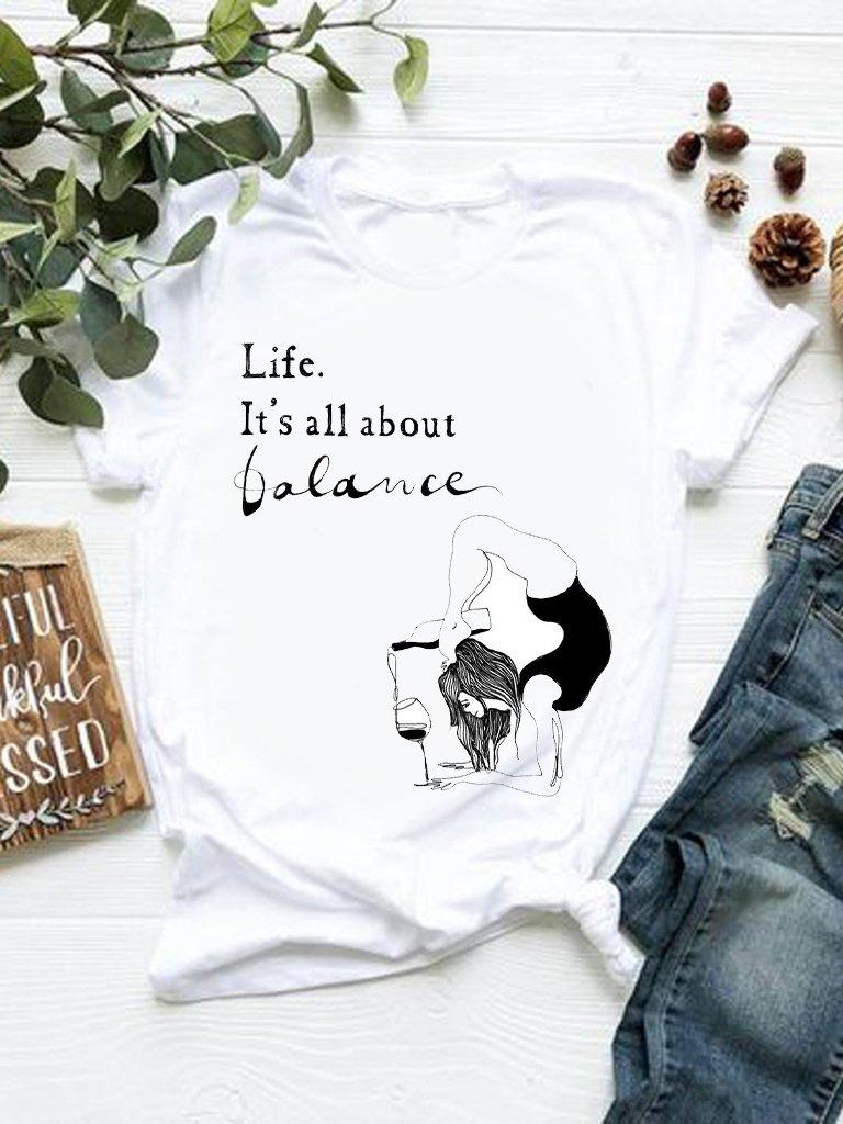 T-shirt biały Life Katarina Ivanenko