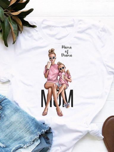 T-shirt biały Mama Of Drama Love&Live