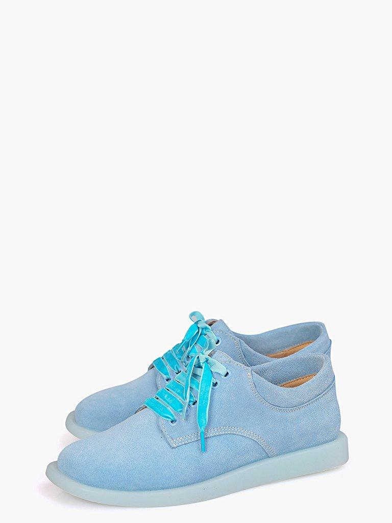 Zamszowe buty w kolorze błękitnym na płaskiej podeszwie Love&Live