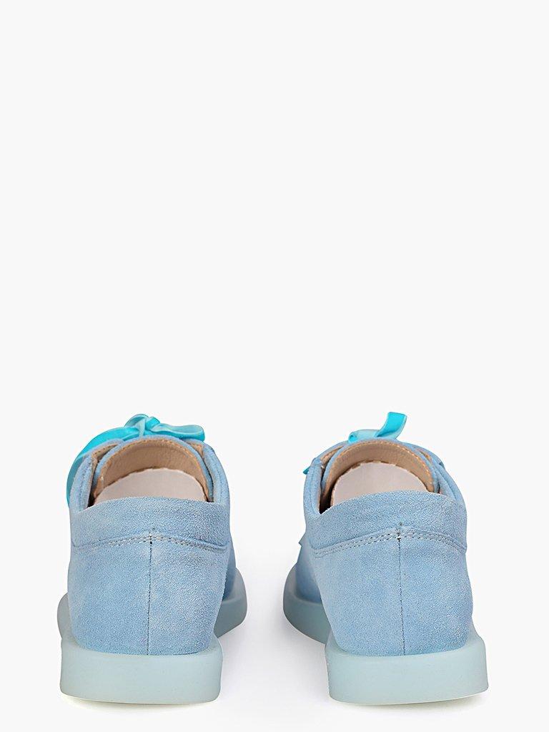 Zamszowe buty w kolorze błękitnym na płaskiej podeszwie Love&Live (zdjęcie 3)