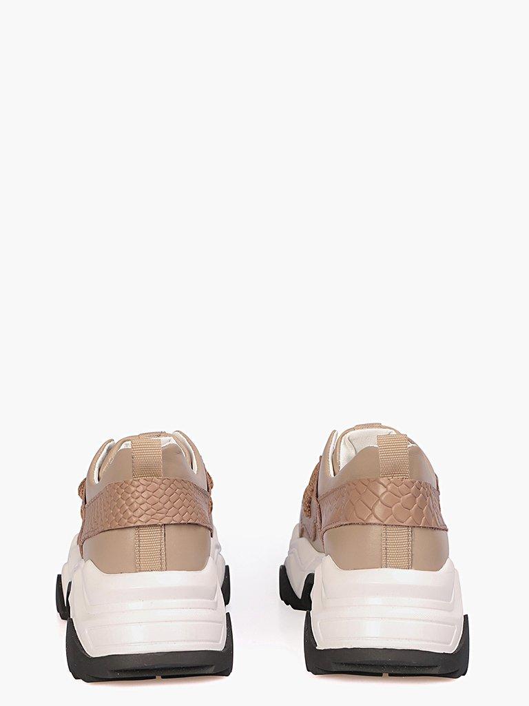 Skórzane buty sportowe w kolorze beżowym z tłoczeniem imitującym skórę węża Love&Live (zdjęcie 2)