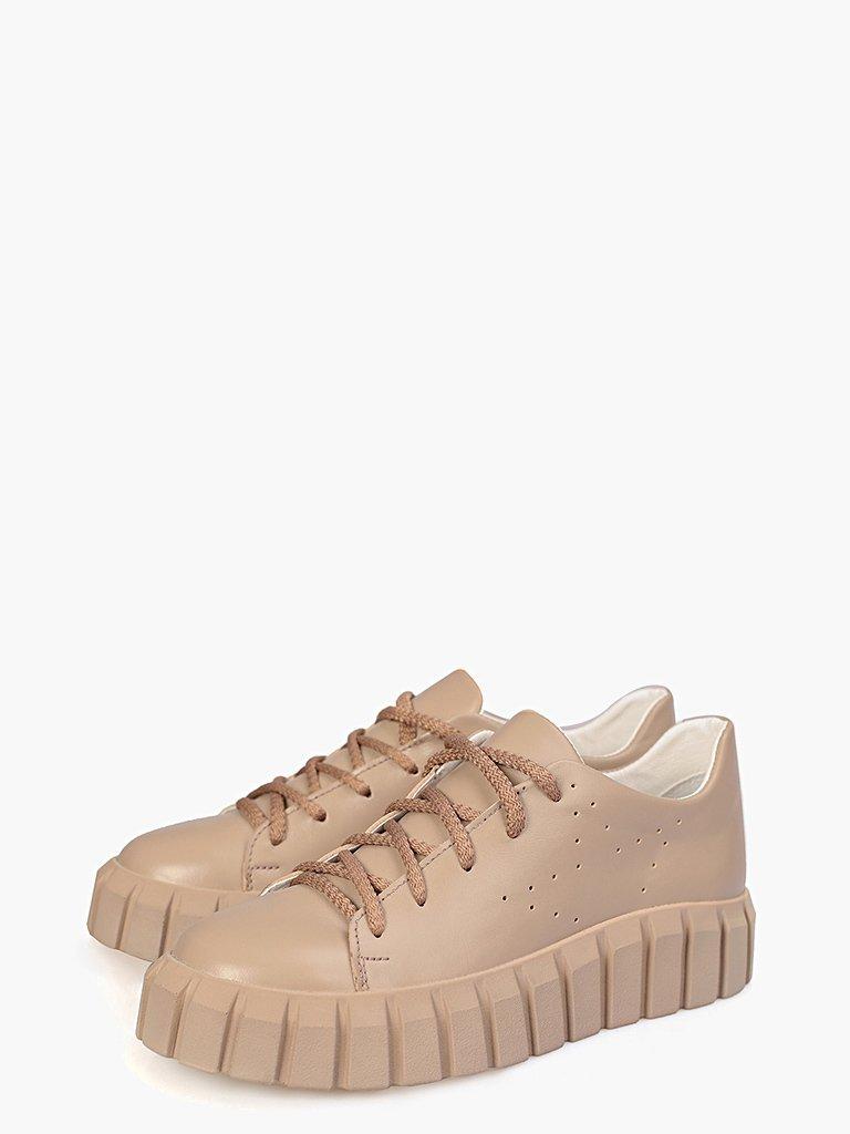 Beżowe skórzane buty sportowe z grubą podeszwą Love&Live