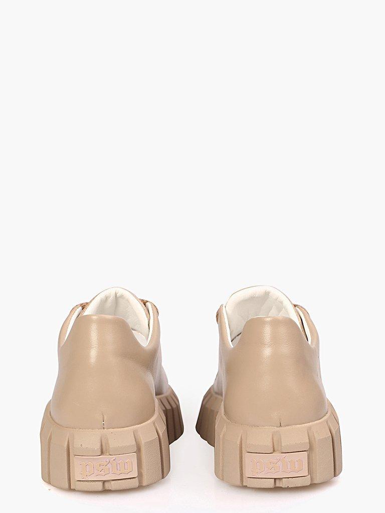 Beżowe skórzane buty sportowe z grubą podeszwą Love&Live (zdjęcie 2)