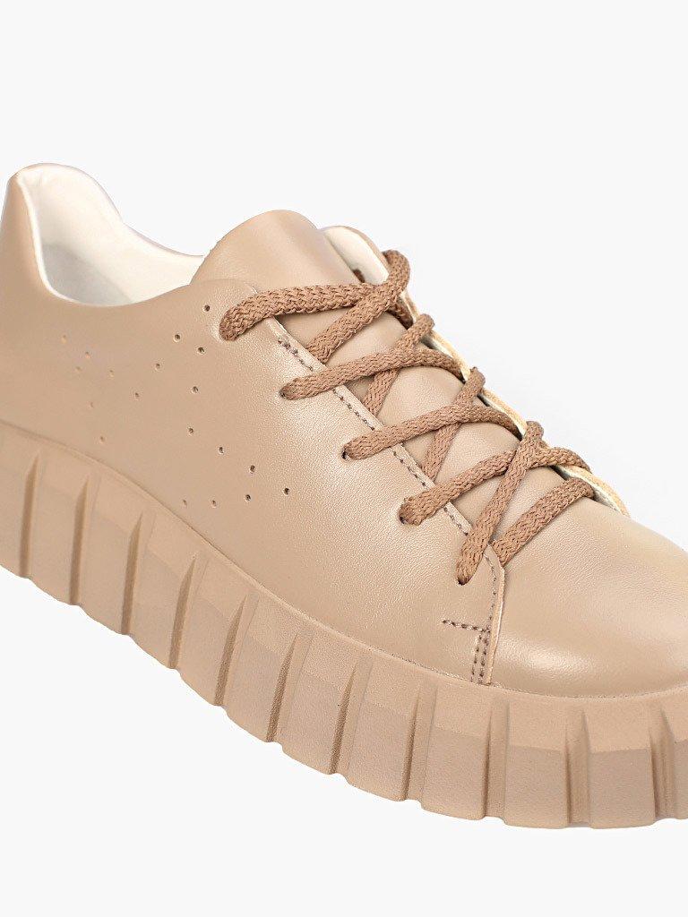 Beżowe skórzane buty sportowe z grubą podeszwą Love&Live (zdjęcie 3)