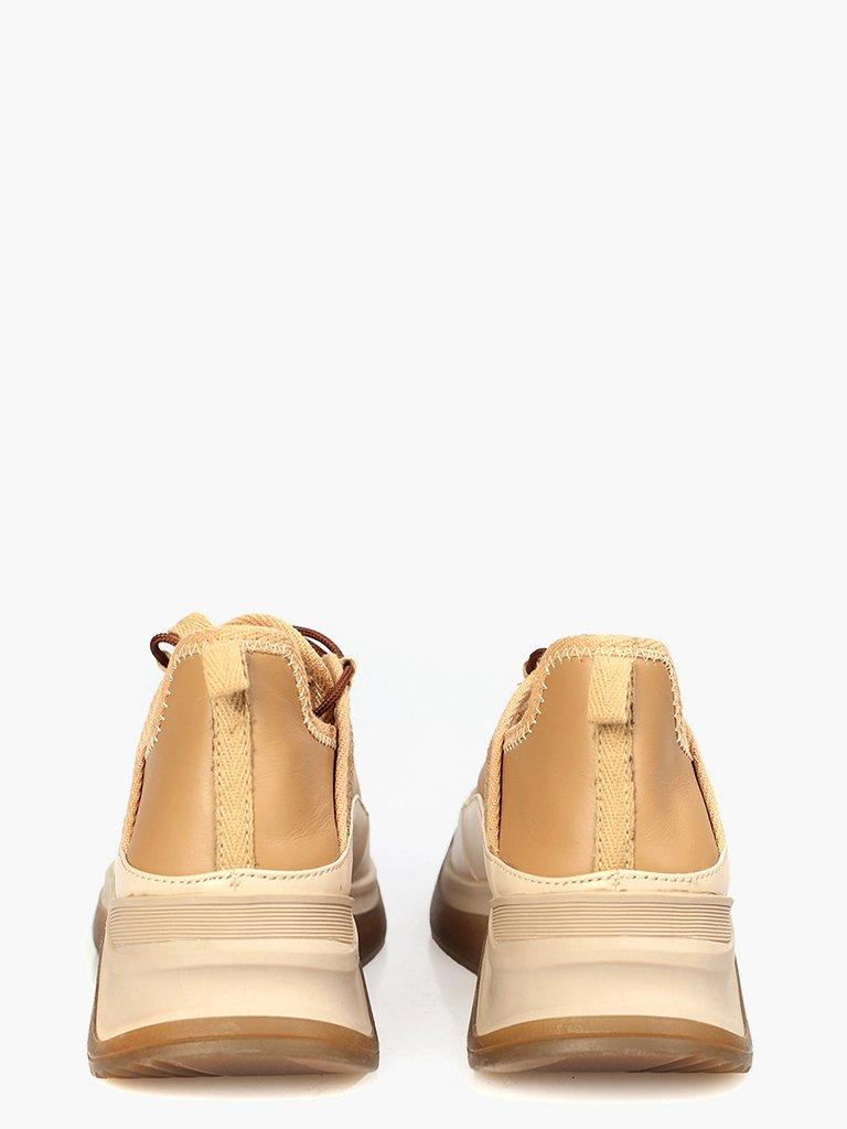 Skórzane buty sportowe w kolorze beżowym z ozdobnymi szwami Katarina Ivanenko (zdjęcie 3)