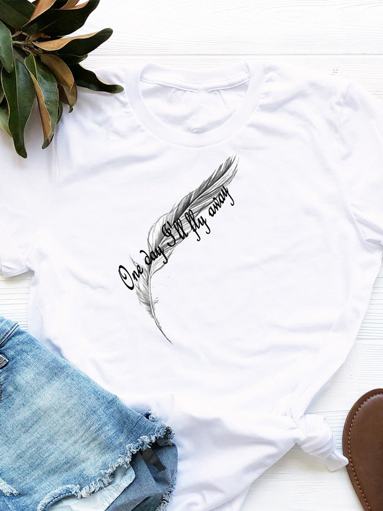 T-shirt biały One Day I'll Fly Away Love&Live