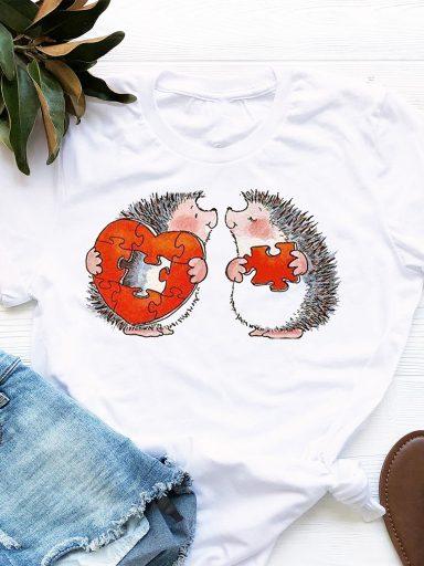 T-shirt biały Puzzle Heart Love&Live