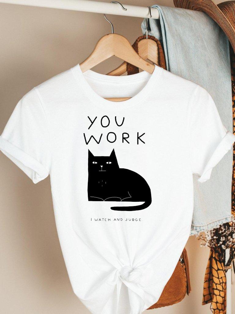T-shirt biały You Work Katarina Ivanenko