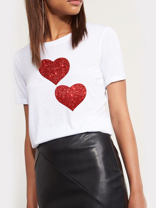 T-shirt biały Red Love Katarina Ivanenko
