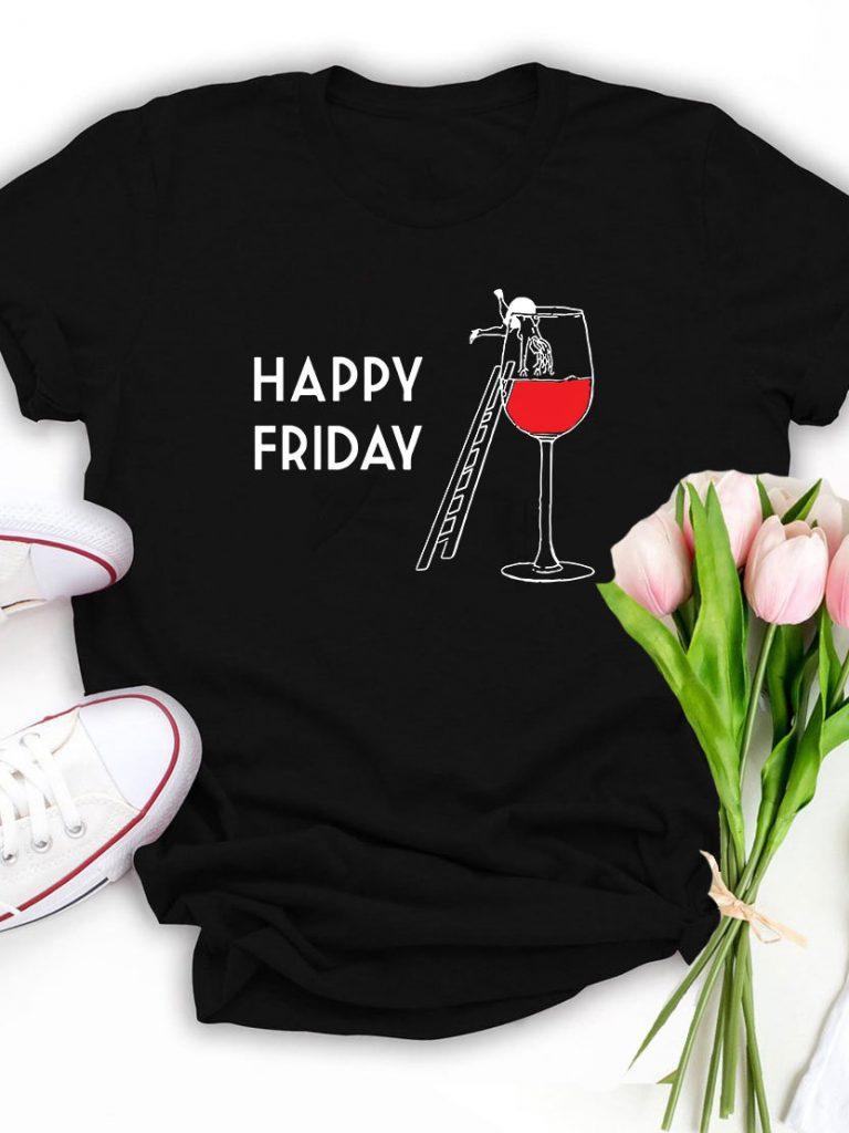 T-shirt czarny Happy Friday Katarina Ivanenko