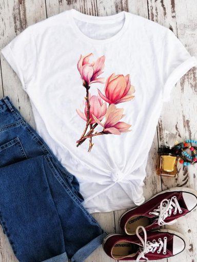 T-shirt biały Bukiet Magnolii Love&Live