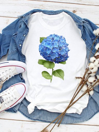 T-shirt biały Hortensja-2 ZUZU